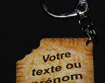 PERSONALIZED WITH NAME OR TEXT BISCUIT PHOTO KEYCHAIN