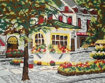 """Vintage  Place Jacques Cartier, Montreal completed needlepoint 20"""" x 16"""" - Le TEMPS DES FLEURS"""