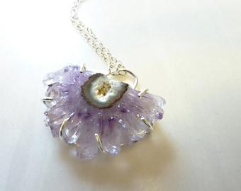 Raw Amethyst Crystal Necklace, Amethyst Stalactite Cluster Pendant, Druzy Pendant, Geode Necklace, Healing Energy, OOAK
