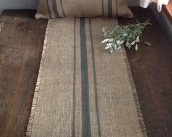 Burlap Table Runner Rustic 12-14x60, 66 or 12-14x72, 78 Grain Sack Gray Striped Farmhouse/Lakehouse Home Decor