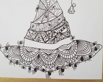 Zentangle Spider Witch Hat for Halloween SVG