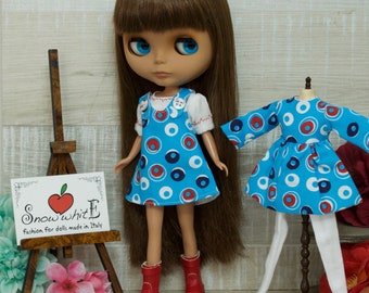 Complete for Blythe: Dress with braces light blue with t-shirt
