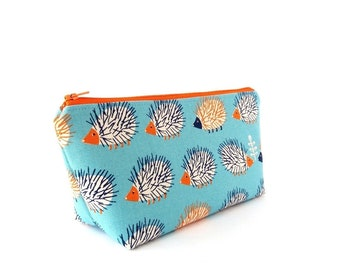 Hedgehog pencil case, Cute zipper pouch, Kawaii school supplies, Back to school, Childrens gifts for boys or girls twins, Small or large