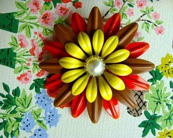 Gorgeous Vintage Enamel Flower Brooch