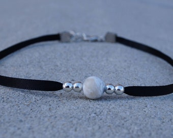Marble & Silver Bead Choker With Black Band