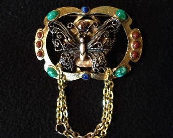 Lovely Butterfly Brooch with mixed stones