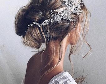 Eleanor, Handmade crystal hair vine, bridal hair accessories, headband hair piece, wedding