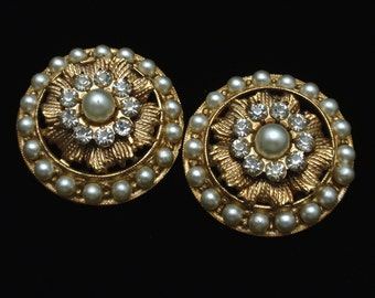 Round Imitation Pearl Clip-Back Earrings Vintage