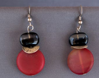 Balance Red, Silver and Black Earrings
