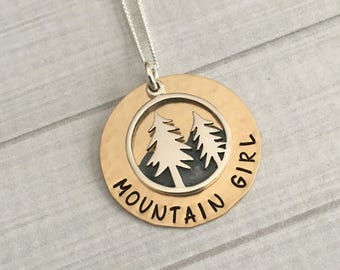 The Mountains Are Calling, Mountain Girl Necklace, Mountain Jewelry, Outdoor Lover Gift, Mountain Necklace, Mother's Day Gift