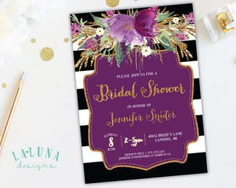 Bridal Shower Invitation, Floral Black & White Stripe Bridal Shower Invite, Gold Glitter Bridal Shower,  Purple Floral Invitation, Printable