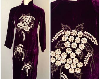 Purple Crushed Velvet Cheongsam Tunic Top with Side Slits XS Sequin and Beaded 70s Vintage Dress
