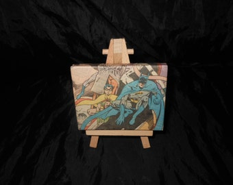 Batman And Robin Mini Canvas with Easel hand decorated