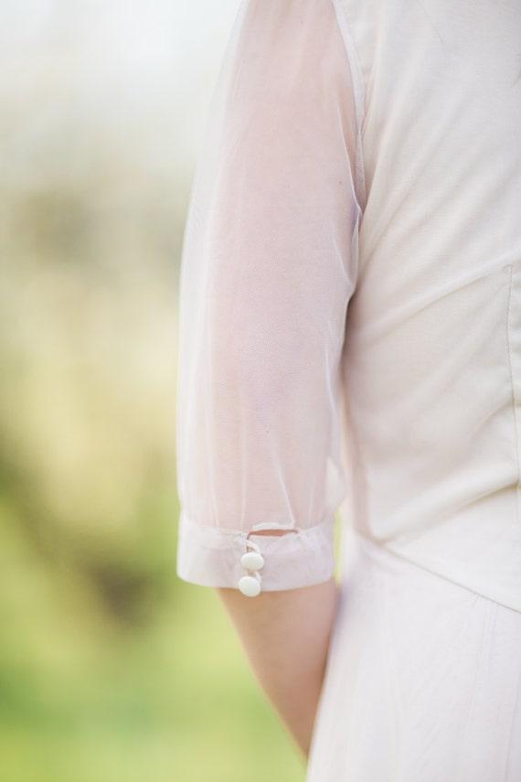 sheer sleeve elbow dress Nude v with neck wedding gCq1wqv