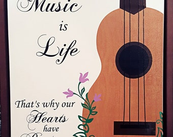 Music is Life 16x20 Framed Canvas Picture