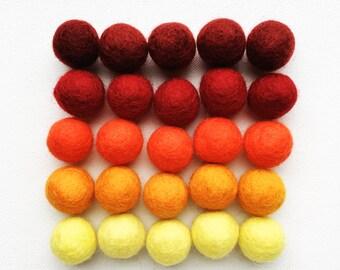 Fall Felt Balls, Thanksgiving Felt Ball Set, Autumn Hues Felt Balls, 25 Pieces Wool Felt Balls