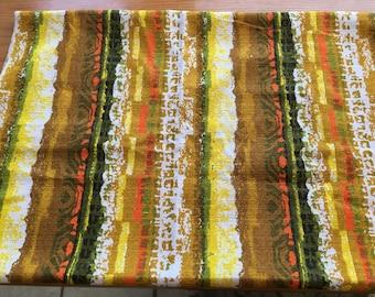 "1960/70's Yellow & Orange Striped Bark Cloth Fabric 26"" x 36"" with seam- bark cloth fabric, striped bark cloth fabric, 1960's fabric"