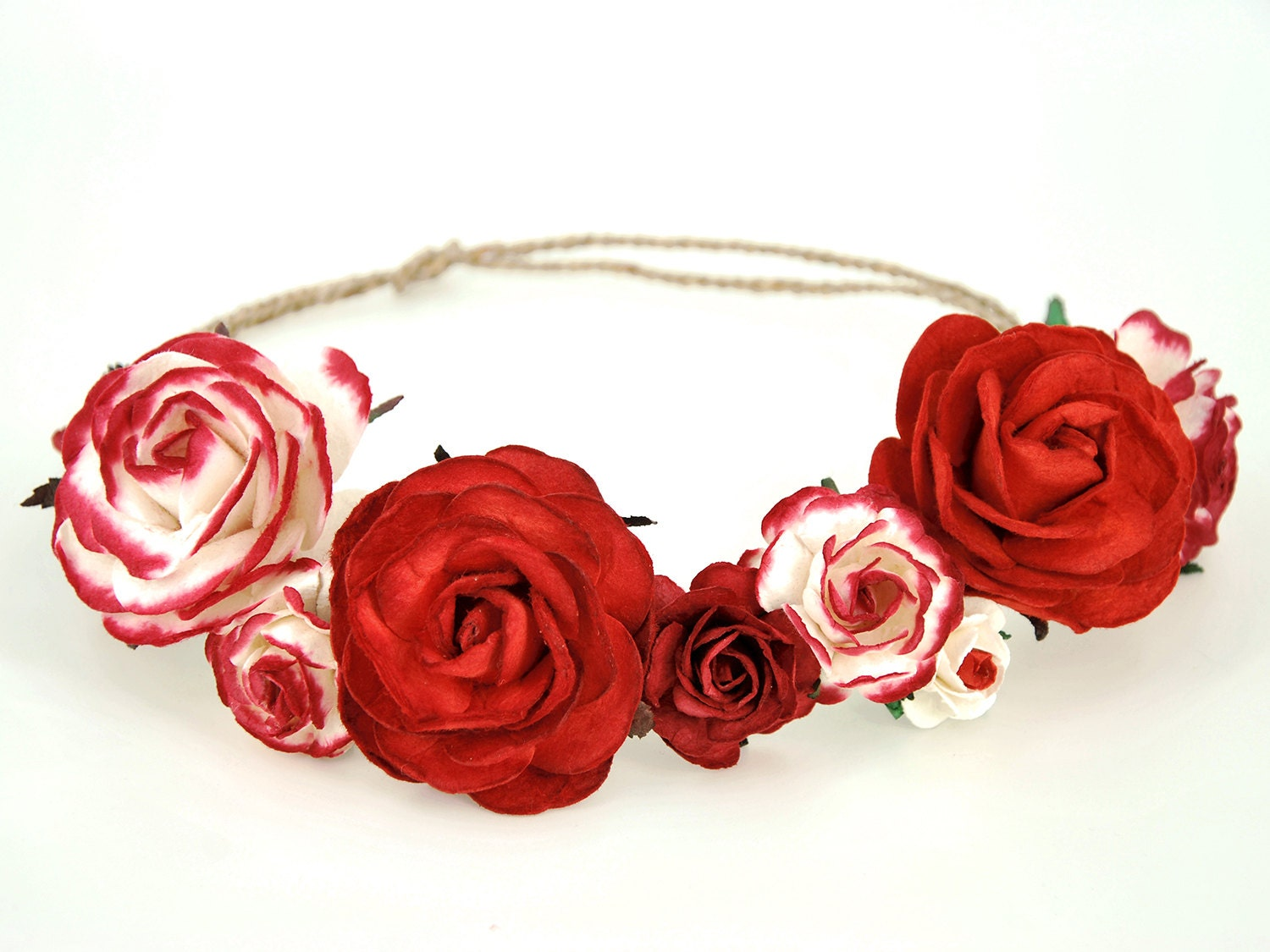 Red Paper Flower Crown Boho Christmas Headband Made Of