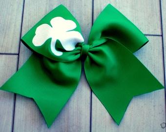 Cheer bow - white glitter shamrock St. Patrick's Day Cheer Bow