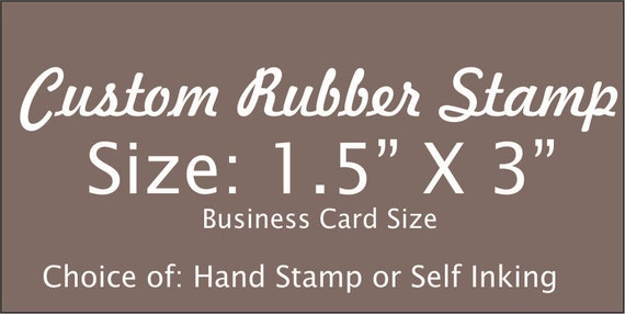 Personalized 15 x 3 custom rubber stamp made with business logo personalized 15 x 3 custom rubber stamp made with business logo text and artwork hand stamp business card self ink or hand stamp order from reheart Choice Image