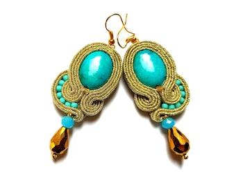 Elunia - Soutache Earrings, colorful earrings, boho and folk, bright, optimistic jewelry