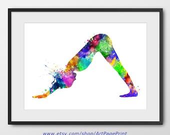 Yoga Print, Yoga Pose Print, Yoga Watercolor, Wall Hanging Yoga Art, Yoga Poster, Yoga Decor, Yoga Wall Art, Yoga Home Decor (A0263)