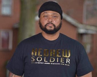 HEBREW SOLDIER Black T-Shirt Gold Distressed Foil Design