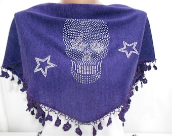 Mothers Day Gift For Her Skull Scarf Day Of The Dead Scarf with Studs Purple Scarf Shawl Cross Bones Scarf  Winter Sacrf Fashion Accessory