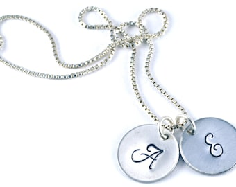 Monogram Initial Charm Necklace -  Stamped Sterling Silver, Personalized Charms, Initial Charm, Initial Necklace, Stamped, Script Font