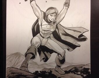 Power Girl sketch by Steve Lieber. Original art.