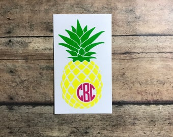pineapple monogram / decal / pineapple / monogram / fruit / southern / summer