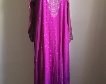 Vintage Raspberry Pink Bohemian Caftan Long Dress  • 70s Bohemian Dress