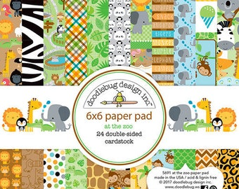 Doodlebug Design - At the Zoo Collection - 6 x 6 Paper Pad