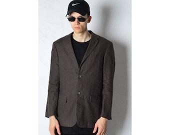 Vintage 90s Brown Minimalist Linen Blazer