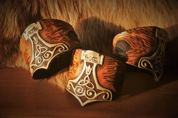 Cuff Bracelet embossed viking fantasy Warrior leather Thor's hammer Mjöllnir custom