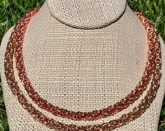 Chainmaille Necklace - Byzantine - Copper or Bronze