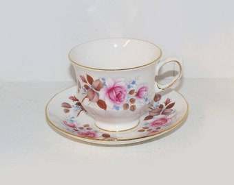 Queen Anne Tea Cup and Saucer Antique Teacups, Bone China Tea Cups Pink Floral #8531 - 1834