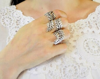 Ivy Metal Ring, Tropical Beach Summer Jewelry  Double Wrap Branch  Flower Forrest Ring, Naturel  Leaf floral Jewellery  Grecian Jewelry. rf2