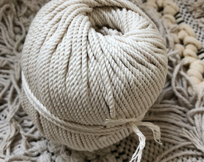 Roll ( around 320 ft)  of cotton rope for macrame , diameter 2 mm, 3 ply twisted rope, made in france