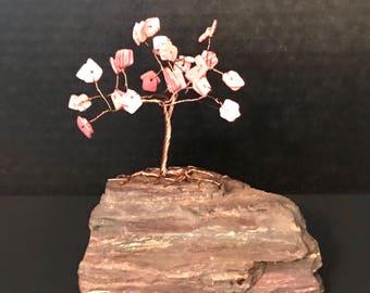 Pink Coral on Copper Gem Tree