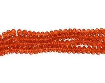 Rondelle Beads, Glass Beads, Faceted Glass Beads, Faceted Beads, Orange Beads, DIY Jewelry, Beading Supplies, Jewelry Supplies, 8x6mm, 72 pc