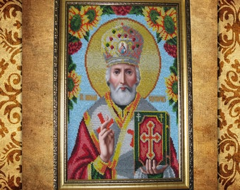 Beadwork Bead painting St.Nicholas Baptism gift embroidery picture,Easter Gift Christian gift grandmother Gifts for mom Wall Religious décor
