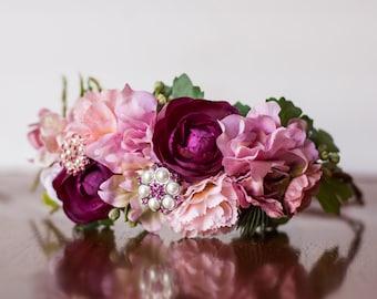 Floral Crown - Flower Halo in Colorful Flowers - Flowergirl hairpiece - Newborn Photo Prop - Wedding Crown - Floral Hairpiece