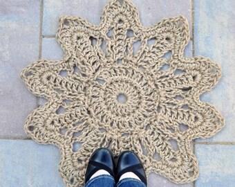 Daisy Flower Door Mat - Rope Mat - foyer decor - natural doormat