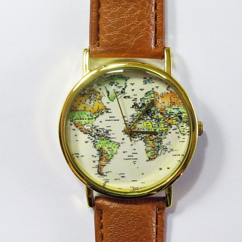 World map watch globe watch traveler gift leather zoom gumiabroncs Images