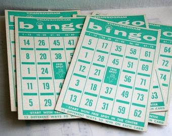 Vintage Green Bingo Cards- Package of 10