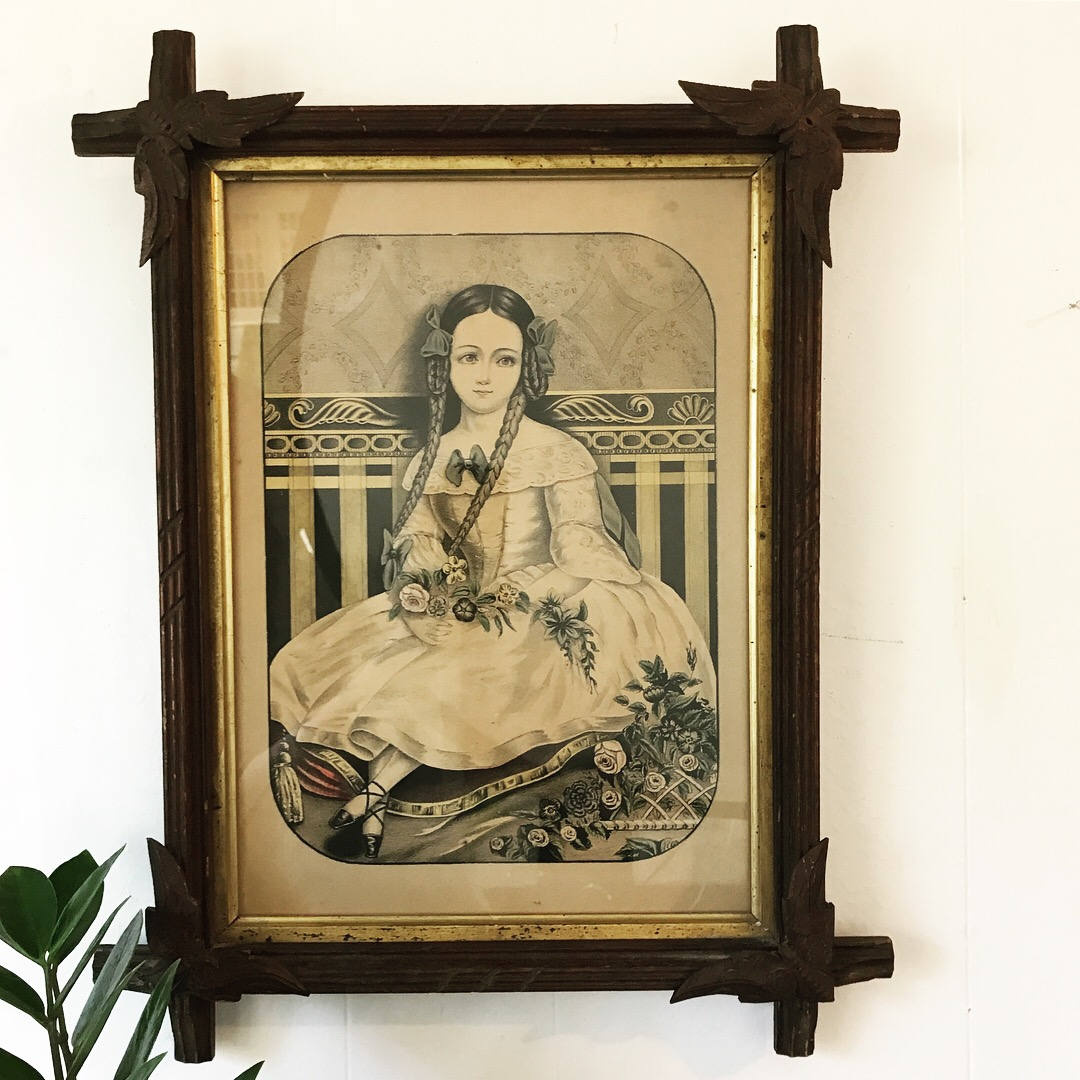 vintage Tramp Art frame - wooden picture frame - hand carved ...