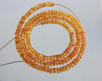 16-inch AAA quality Mandarin Garnet faceted rondelle beads size 3.5-4mm 67cts GW1569