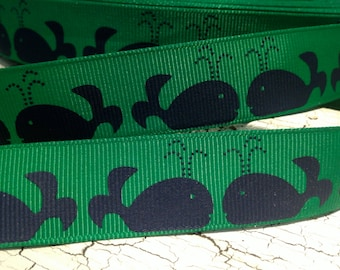 "7/8"" Preppy NAUTICAL Navy Whales on Green sold by the yard"