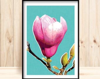Flower Wall Art, Magnolia Printable, Pink & White Flower, Magnolia Wall Print, Contemporary Flower Print,Jade, Pink, Floral, Flower Poster